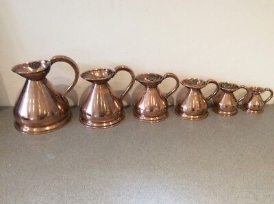 Set Six Late Victorian Copper Measuring Jugs .quart To Eighth Of Gill