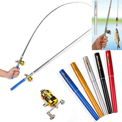 Mini Portable Pocket Telescopic Fish Pen Aluminum Alloy Fishing Rod Pole Reel