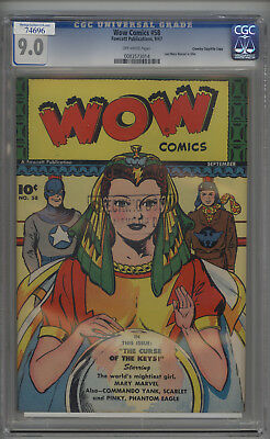 Wow Comics # 58 CGC 9.0 VF/NM Crowley File Copy 1947 Fawcett Publications