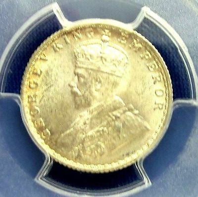 India PCGS 1/4 Rupee MS 63 1936 Silver Coin Uncirculated George V British Rule