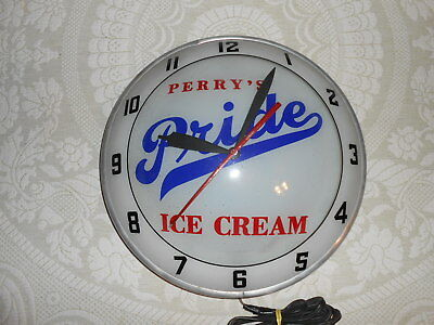 "1950-60s Vintage Perrys Pride Ice Cream Double Bubble Advertising Clock 15"" Ala"