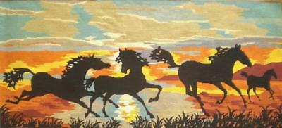 "vintage completed cotton needlepoint tapestry  running horses  44""x19.6"""