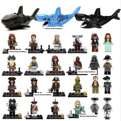 Lego Minifigures Captain Jack Sparrow Pirates of the Caribbean Shark Child toys