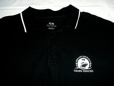 "Crown Princess Cruise Ship Line ""Explore The World"" Embroidered Large Polo Shirt"