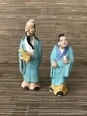 Pair Vintage Chinese Mudmen Mud Men Mudman Mud Man Clay Figure Figurines