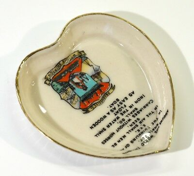 Antique Mother Shipton Crested China Heart Shaped Pin Dish.