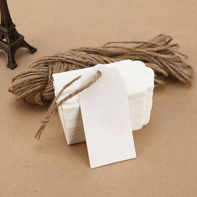 100 x White Kraft Paper Gift Tags Label Luggage Wedding Craft Blank + Strings