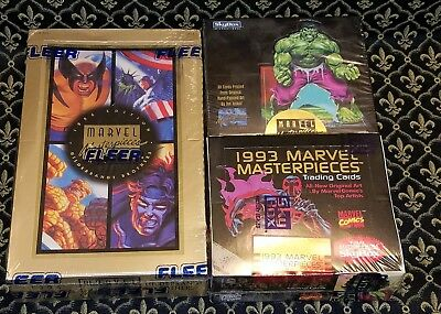 1992 1993 1994 Marvel Masterpieces Sealed Trading Cards Box /350,000 SP lot