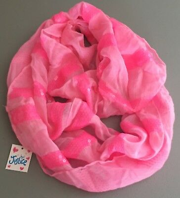 Justice Girls Scarf One Size Pink Sequins New Nwt