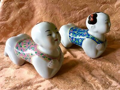 Pair of Chinese Ceramic Pillows, Girl and Boy, blue and pink vintage and sweet!