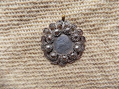 Antique Bulgarian Silver Pendant With a Coin and Silver-plated Filigree 1913