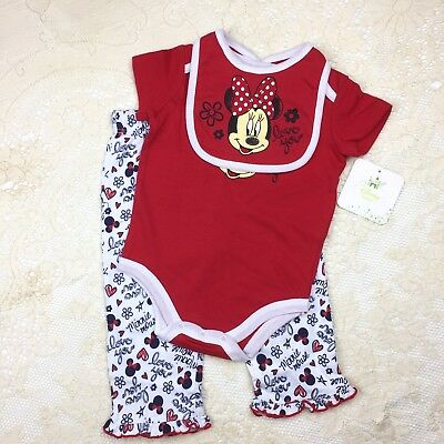 3pc Disney Minnie Mouse Baby Girls 6-9M Top Pants Bib Love Red Creeper Set Gift