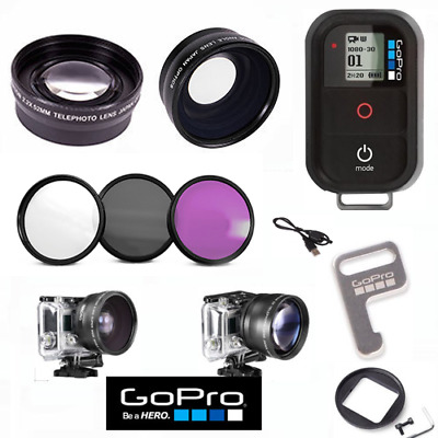 Gopro Hero5 Black Wide Angle Lens+Telephoto Zoom Lens + Filter Kit +Wifi Remote