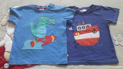 Frugi and M&co boys summer tshirts, 18-24 months, blue, cotton