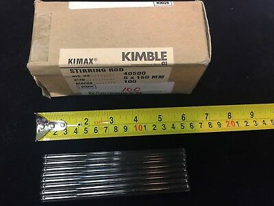 Kimble 5mm x 250mm Long Solid Glass Stirring Rods 40500-150 - Lot of 108 - NEW