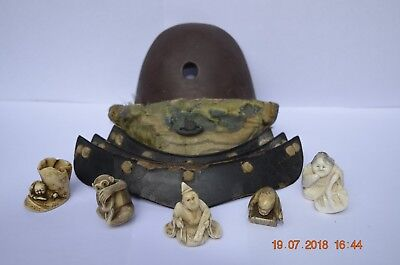 A Nice Collection Of Antique Japanese Miniature Figures And Section Of Armour