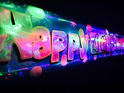 Personalised  Flashing  Happy Birthday banner 1st-60th Party decorations Bunting