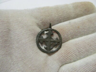 "Ancient bronze pendant ""Cross in circle"" Kievan Rus Vikings 11-13 AD № 429/10."