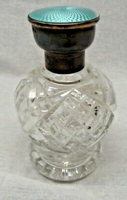 Antique Cut Glass Perfume Bottle with Sterling Guilloche Lid As Offered