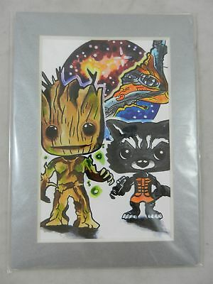 Baby Groot & Rocket Art Sketch Hand Drawn Watercolor? 5x7 Framed