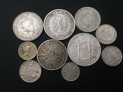 10 World Silver Coins Lot Collection 10 Coins