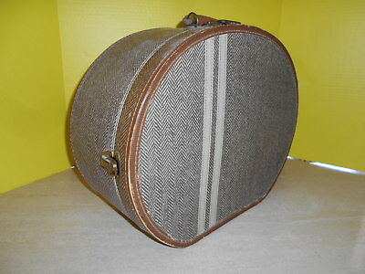 VTG Round Hat Box Train Case Luggage Brown Herringbone w/ 2 White Stripes Nice!