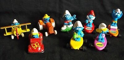 Smurf Lot with Wheels ~ 3 Die cast & 5 Skateboards ~ Used ~ Ertal, Applause