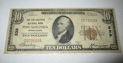 $10 1929 Philadelphia Pennsylvania PA National Currency Bank Note Bill! Ch. #539