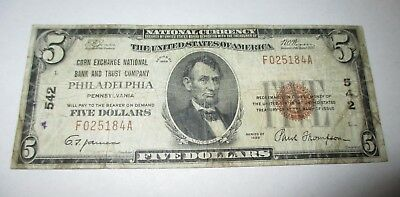 $5 1929 Philadelphia Pennsylvania PA National Currency Bank Note Bill! Ch. #542
