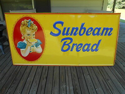 "Large Vintage 1973 Sunbeam Bread Grocery Store Gas Oil 72"" Embossed Metal Sign"
