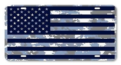 Digi Camo American Flag Blue and white Vanity License Plate Car Truck Accessory