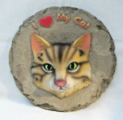 """Cat Plaque-In Relief-Cat Wall Decoration Or Stepping Stone-Reads """"i Love My Cat"""""""