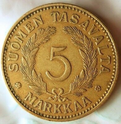 1939 FINLAND 5 MARKKAA - Rare WW2 Type Low Mintage High Value Coin - Lot #719