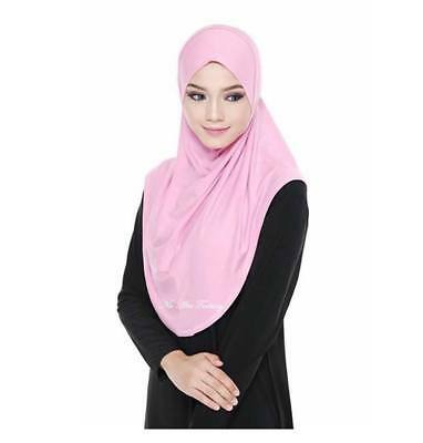 Rose Pink Syari Plain Instant Hijab Set One Piece Slip On Khimar Amira Scarf