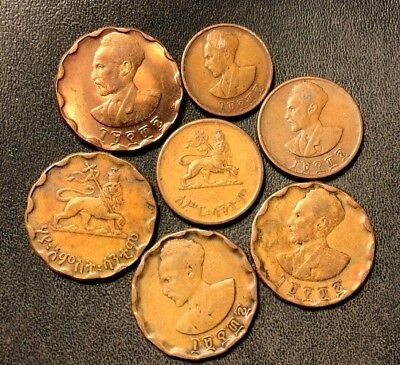 Old ETHIOPIA Coin Lot - 1936 - 7 Excellent Exotic Coins - Lot #719