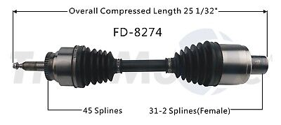 For Ford F-150 10-14 SVT Raptor Front Pass Right CV Axle Shaft SurTrack FD-8274