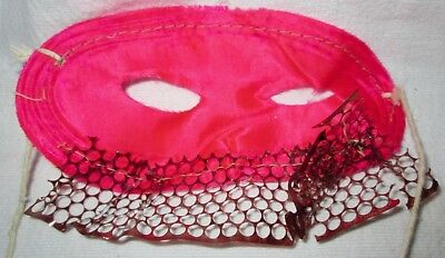 Vintage Halloween Gauze Fabric Pink Satin & Copper Mask