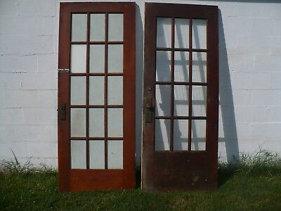 Two Antique Vintage 15 / 12 Window Pane Glass Wooden Doors  - Local Pickup Only