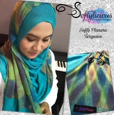 Turquoise Softy Planura Knitted Semi Instant Shawl One Piece Hijab Slip On Scarf