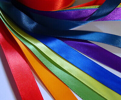 RAINBOW PACK - 7 x 1 Metre lengths of 15mm wide Double Sided Satin Ribbon