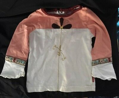 Vintage Baby Guess Shirt Girl Size 18 mo 100 % Cotton  Embroidered Flower Trim