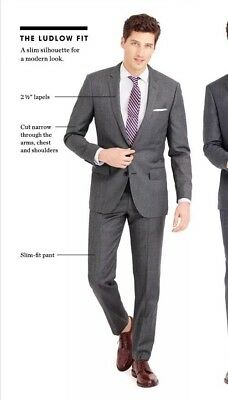 New NWT J.Crew Ludlow Italian Stretch Wool Suit 40L Jacket Blazer Gray Slim $425