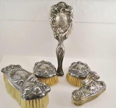 Unger Bros Sterling Silver SECRET OF THE FLOWERS Hair & Clothes Brush Set - 5pcs