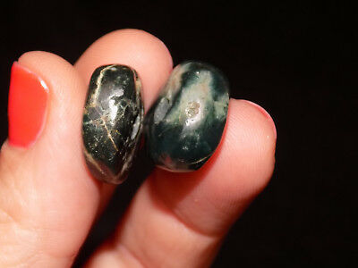 Pre-Columbian Blue Jade Disc Beads, Pair of 2 Disc Beads, Nicoya Costa Rica