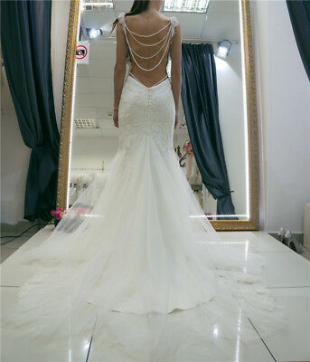 Backless Mermaid Wedding Dress Bridal Gown Sleeveless Lace Applique Tulle Custom