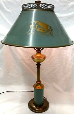 "Vintage Mid Century Aqua Marine Tole Metal Desk Table Library Reading Lamp 24"" T"