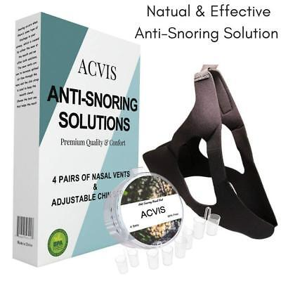 Anti Snoring Set Over Head Chin Strap and 4 Pair of Nose Vents No Snore  Acvis