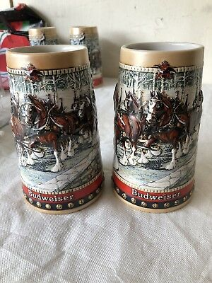 (2) 1988 Budweiser Beer Steins Clydesdale Collector Series Holiday Mugs