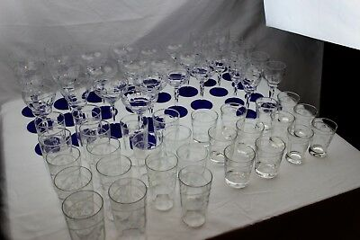HUGE SET 58 Depression Cut Glass Louie Cobalt Blue Crystal Stemware Weston