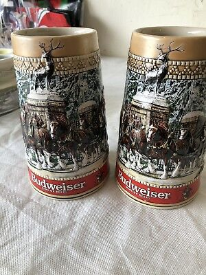 (2) Budweiser Anheuser-Busch C Series Beer Steins Collectors Edition 1987